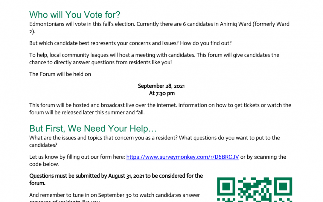 Anirniq Candidate Forum: Submit questions for candidates by August 31.